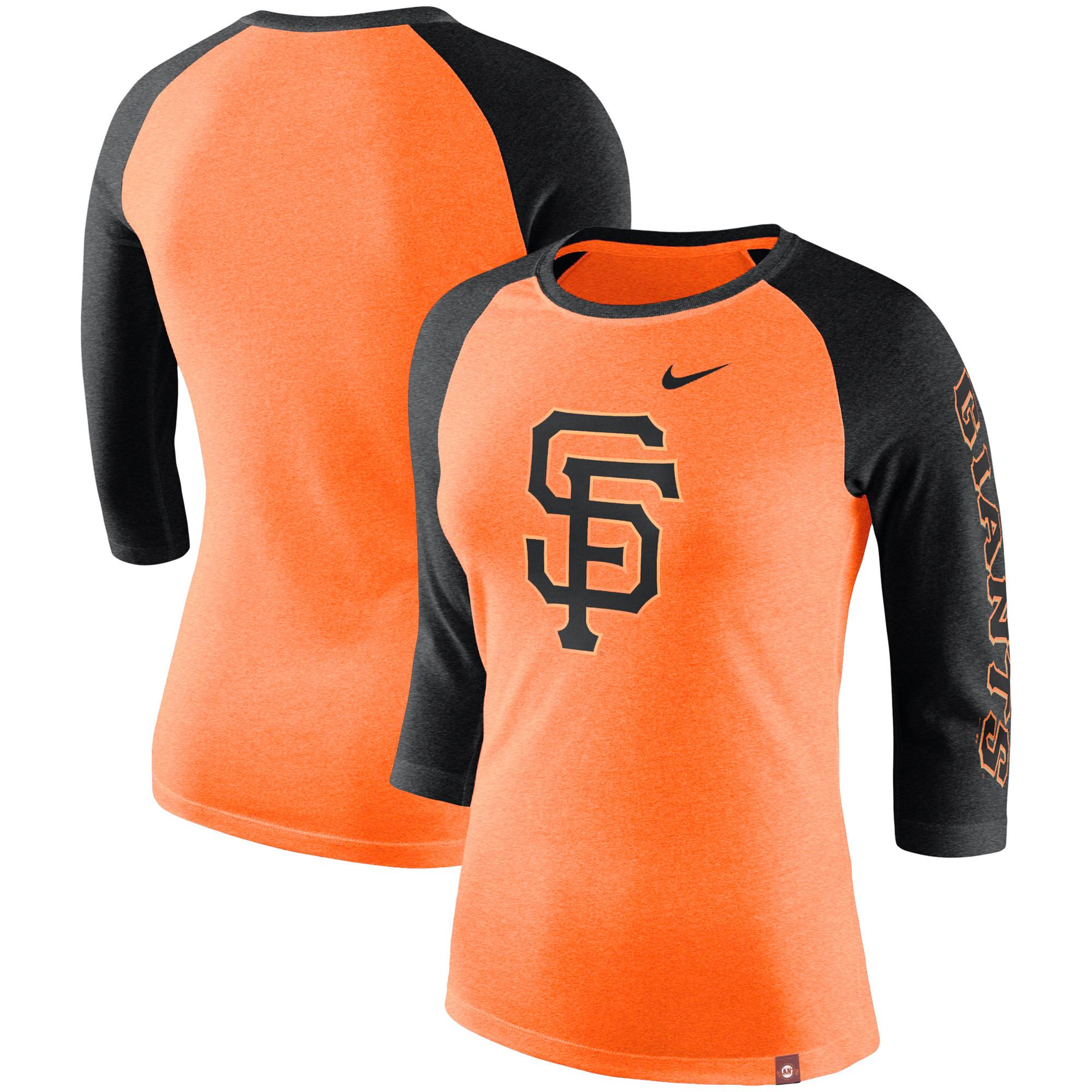 San Francisco Giants Nike Women's Tri-Blend 3/4-Sleeve Raglan T-Shirt - Orange