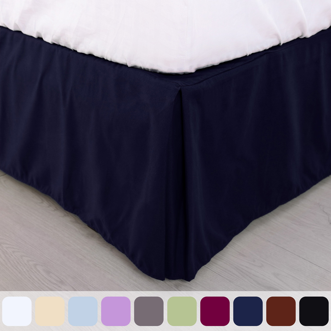 "1 NAVY BLUE ELASTIC ALL AROUND STYLE BEDDING DRESSING BED SOLID SKIRT 14/"" DROP"