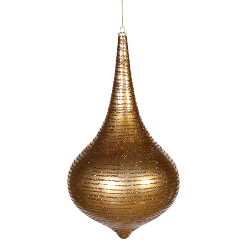 Gold Matte with Glitter Stripes Christmas Onion Drop Ornament 24""
