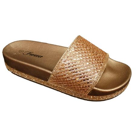 Gold Love Slide (Forever Women's Viste 12 Rose Gold Rhinestone Slide Sandal Size: 6, Width: Medium)