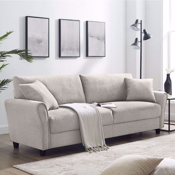 Upholstered 85 inch Sofa Modern Linen Living Room Couch