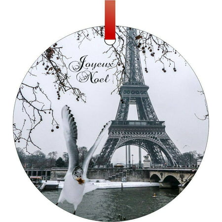 Eiffel Tower in the Snow-Joyeux Noel Flat Round - Shaped Christmas Holiday Hanging Tree Ornament Disc Made in the U.S.A.