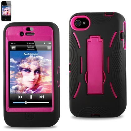 Importer520 HYBRID Armor Cover CASE FOR Apple Iphone 4 4S,4G. With kickStand Two piece case Hard Shell + soft Silicone (Candy With Hard Shell And Soft Inside)