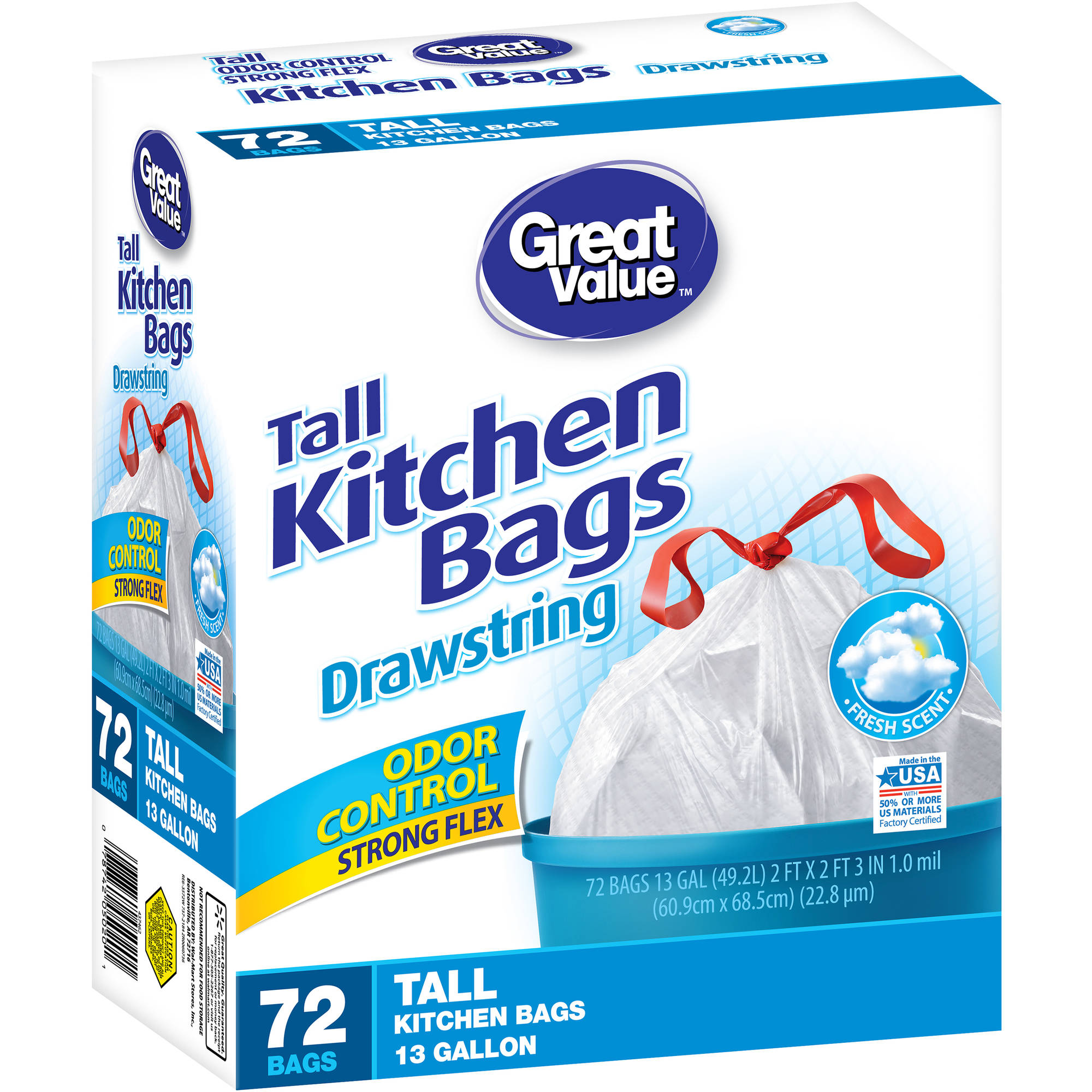 Great Value Fresh Scent Drawstring Tall Kitchen Bags, 13 Gallon, 72 ct