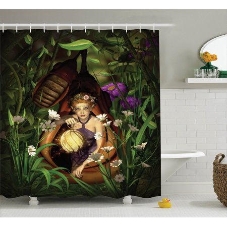 Teen Girls Decor  A Female Elf Sitting With A Lantern In A Cocoon Mysterious Greenery Night  Bathroom Accessories  69W X 84L Inches Extra Long  By Ambesonne