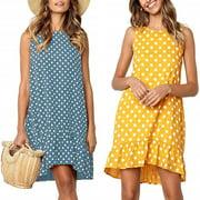 Dresses for Women V Neck Ruffle Polka Dot Loose Swing Casual Short T-Shirt Dress