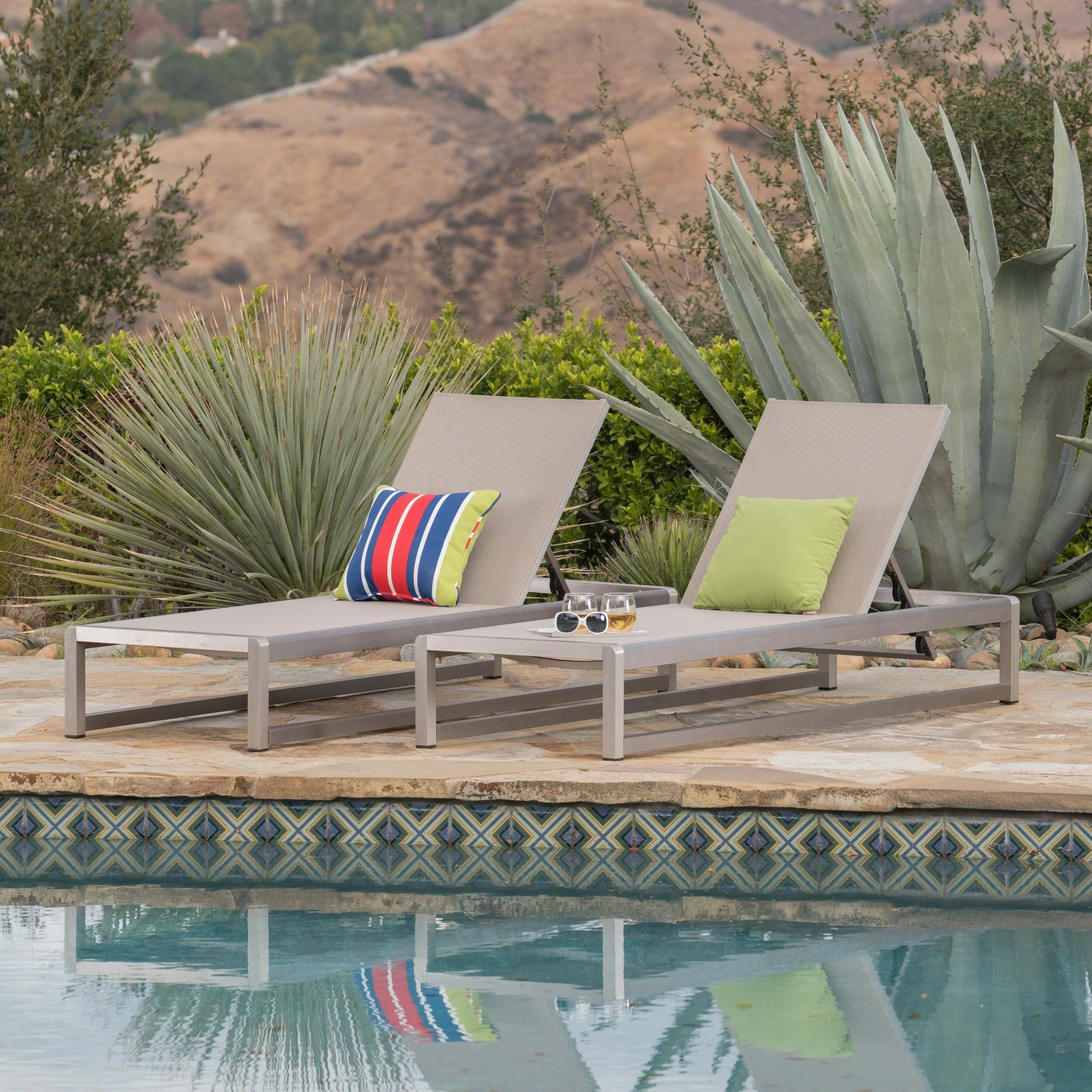 Christopher Knight Home Cape Coral Outdoor Aluminum Mesh Chaise Lounge by  (Set of 2)