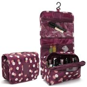 Travel Toiletry Wash Cosmetic Bag Makeup Storage Case Hanging Organizer Bag,Wine Red color