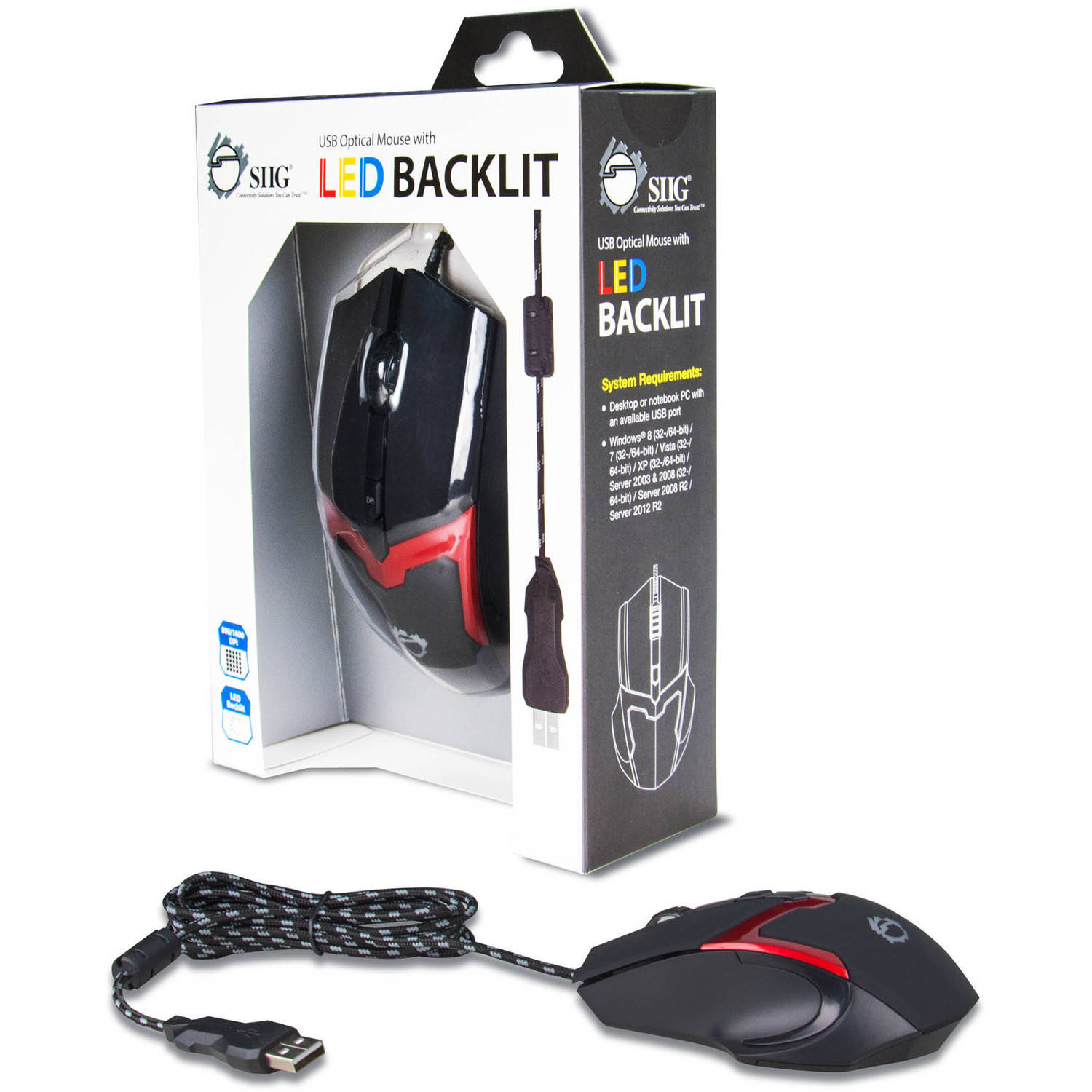 SIIG USB Optical Mouse with LED Backlit, Red