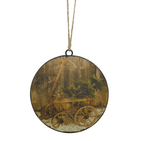 Club Pack of 12 Brown and Green Wagon with Tree Distressed Metal Disc Ornament