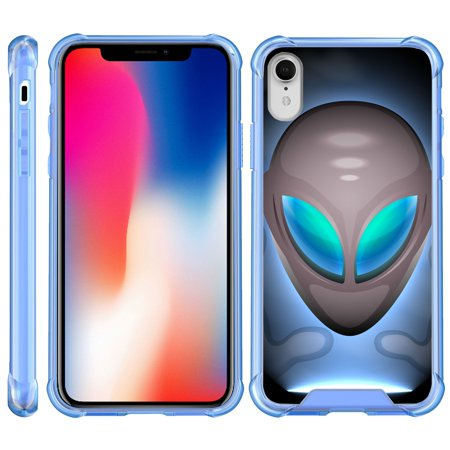 TurtleArmor ? | For Apple iPhone XR [Clear Bumper Case] Fitted Ultra Slim TPU Case with Blue Edges - Alien Mind Warp