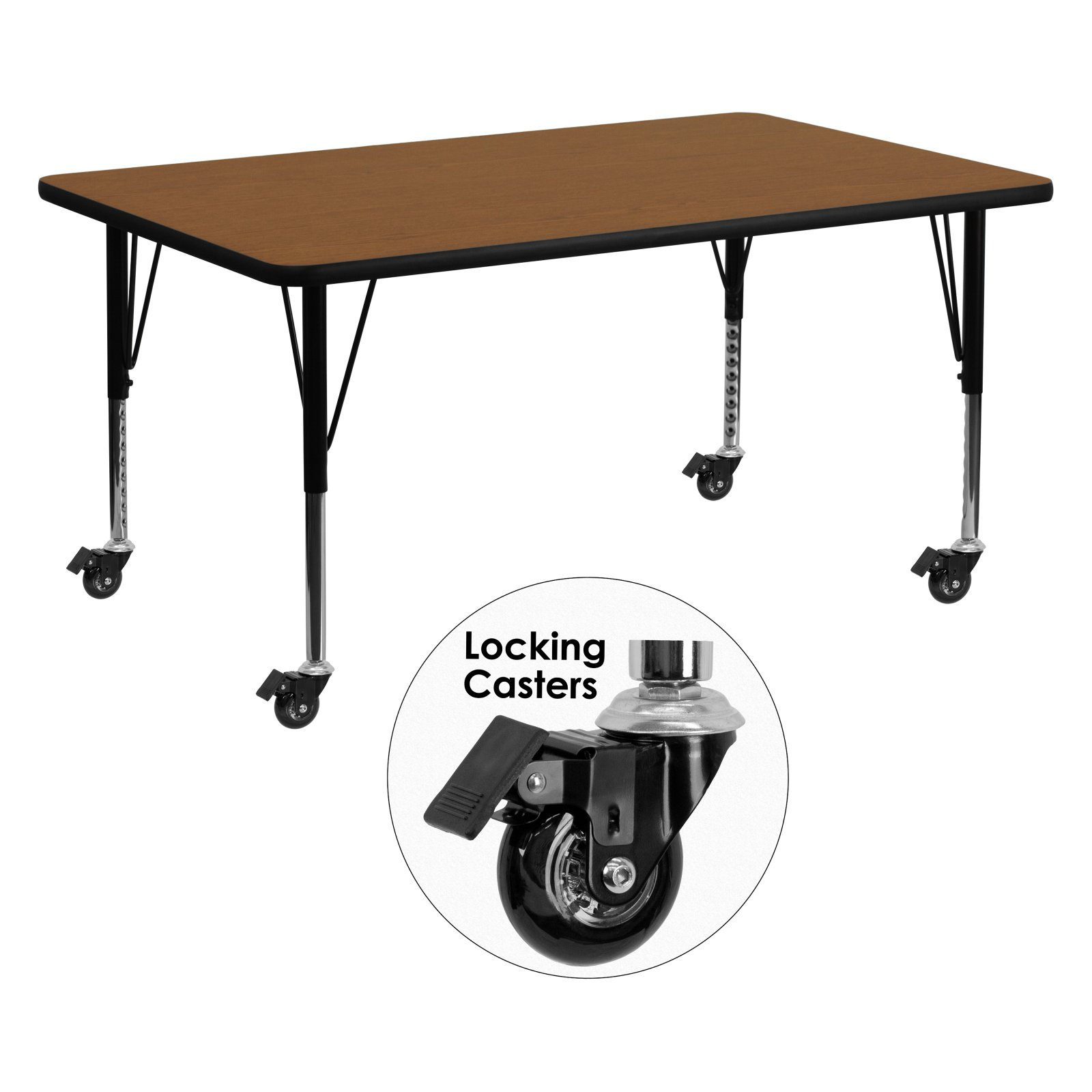 Flash Furniture Mobile 24''W x 60''L Rectangular Activity Table with 1.25'' Thick High Pressure Oak Laminate Top and Height Adjustable Preschool Legs