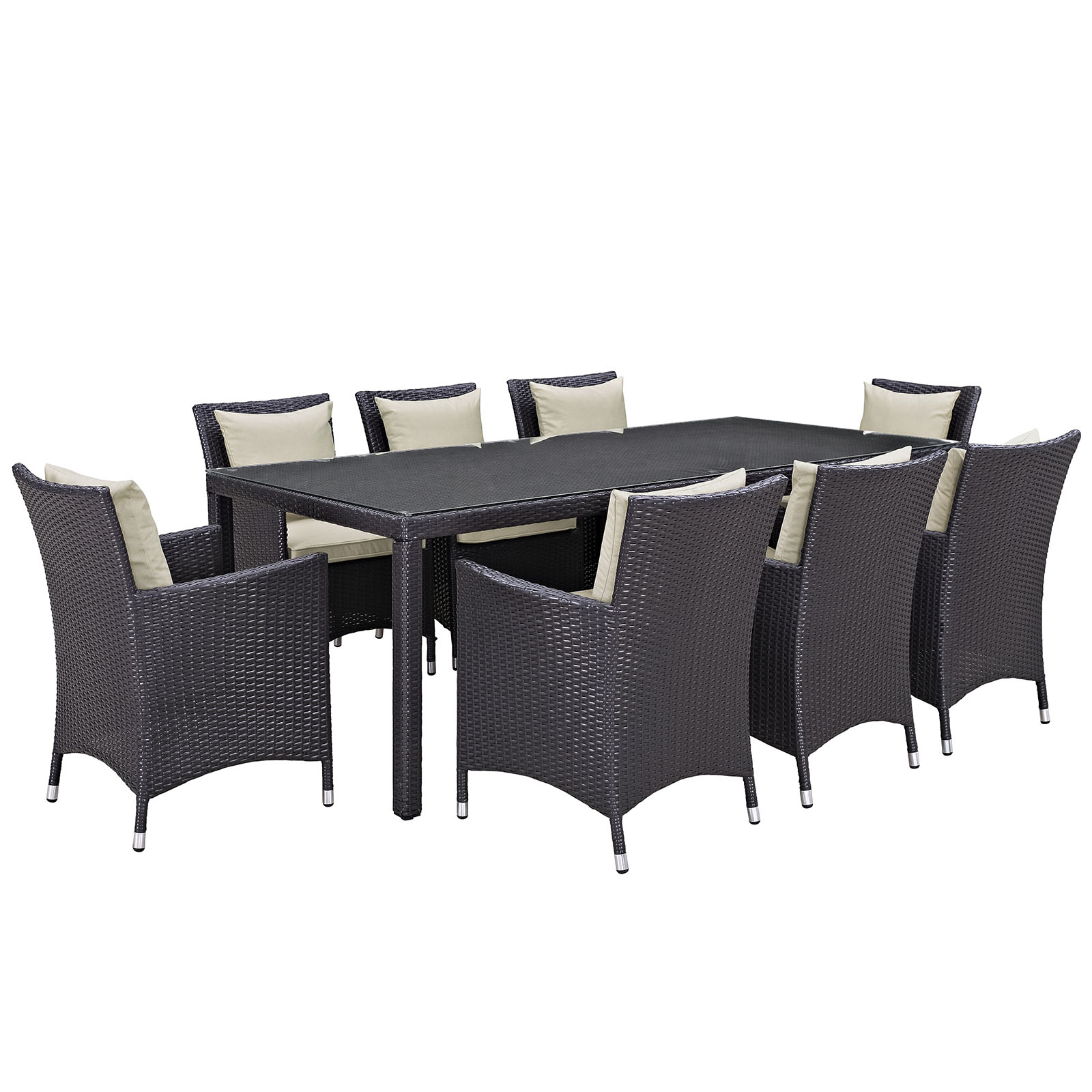 Modern Contemporary Urban Design Outdoor Patio Balcony Nine PCS Dining Chairs and Table Set, Beige, Rattan
