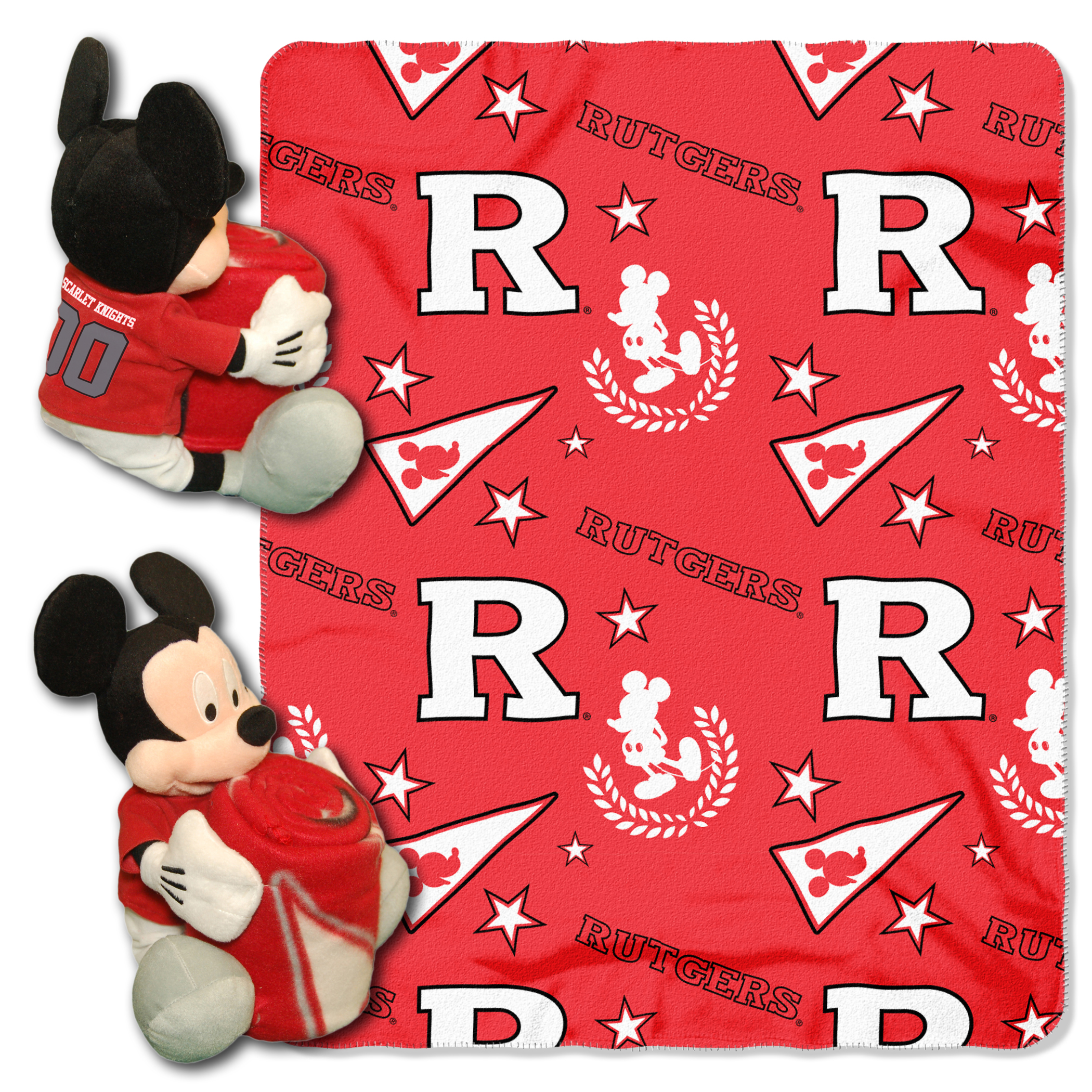 "Official NCAA and Disney Cobrand Rutgers Scarlet Knights  Mickey Mouse Hugger Character Shaped Pillow and 40""x 50"" Fleece Throw Set"
