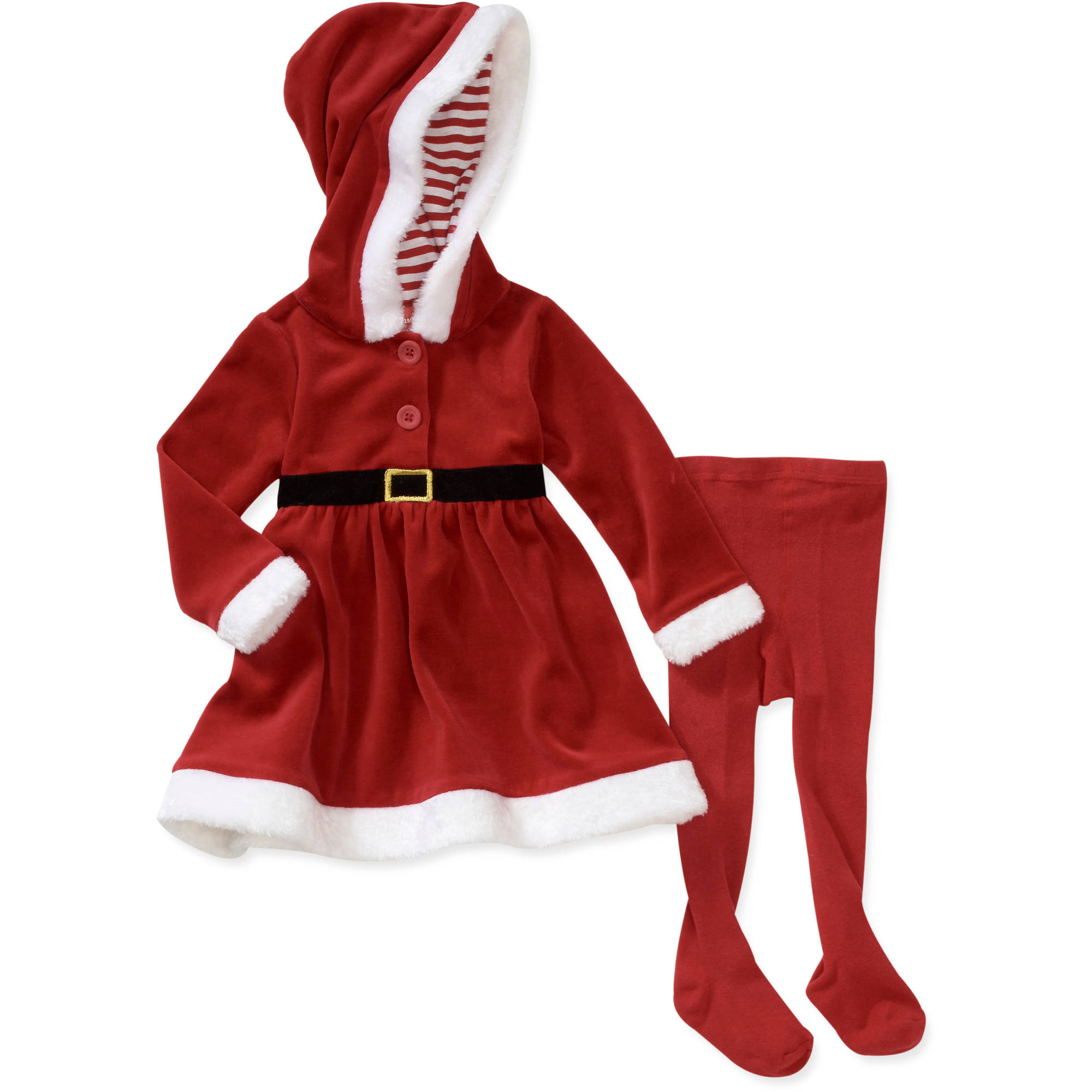 Baby Girls' 2-Piece Santa Velour Hoodie and Tights Set