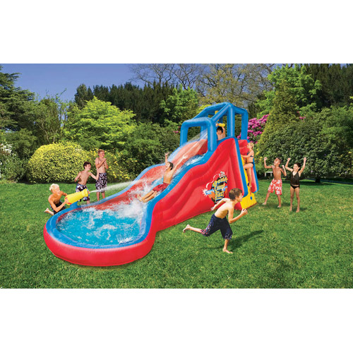 banzai double cannon blast inflatable water slide - Blow Up Water Slides