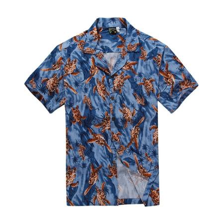 Hawaiian Shirt Aloha Shirt in Blue with Red Turtle