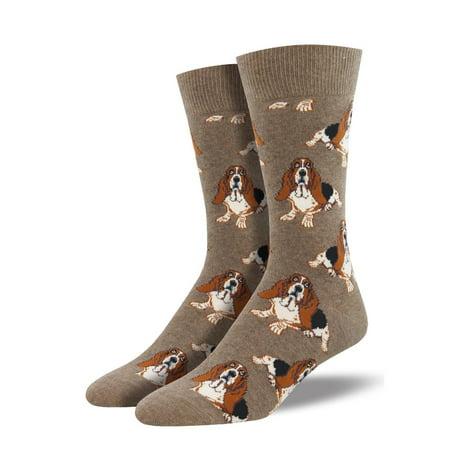 Basset Hound One Size Fits Most Light Brown Heather Mens Socks