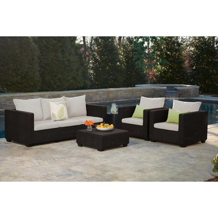 Keter Salta Armchair Brown with Sunbrella Cushions, Resin Outdoor Patio Furniture
