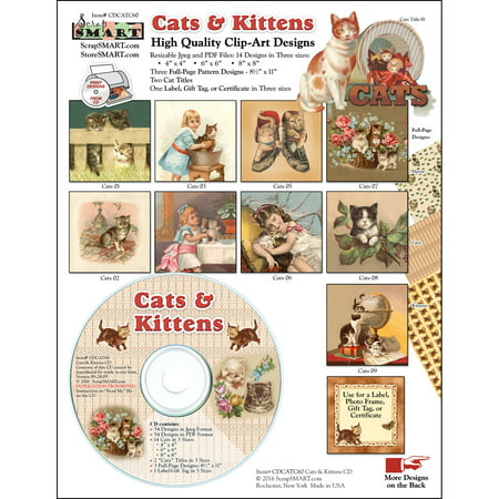 ScrapSMART Cats and Kittens Clip-Art CD-ROM, Vintage Images for Scrapbook, Craft, Sewing