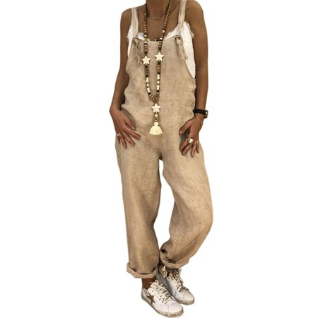 Linen Jumpsuits for Women Casual Overalls Wide Leg Harem Pants Rompers Baggy Loose Strap Dungaree Trousers Long Pants