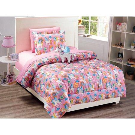 Fancy Linen 6pc Unicorn Twin Comforter Pink Purple With Furry Buddy
