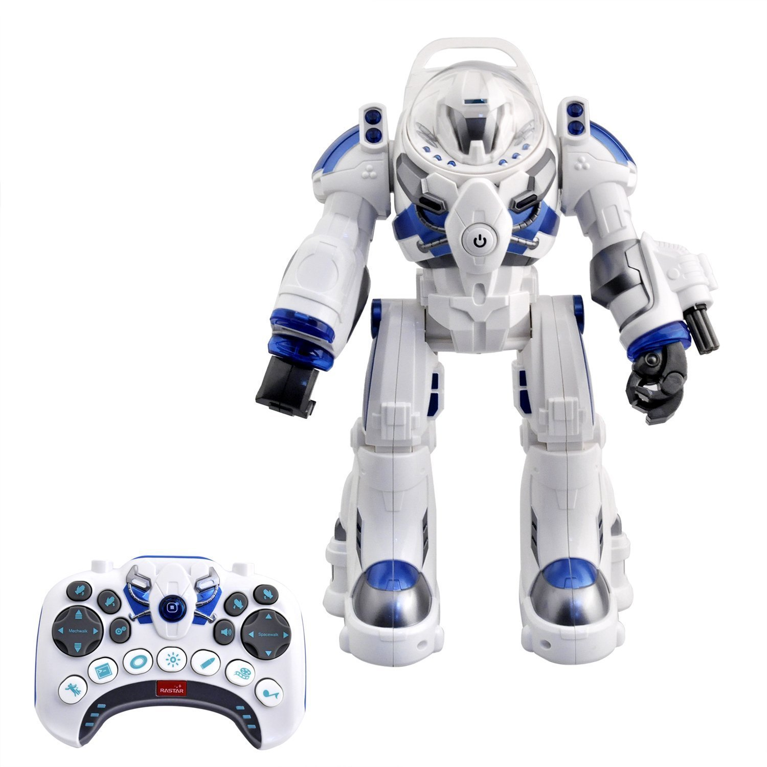 Spaceman RC Robot With Shoots Soft Rubber Missiles, Flashing Lights and Sound, Walking Talking and Dancing (White)