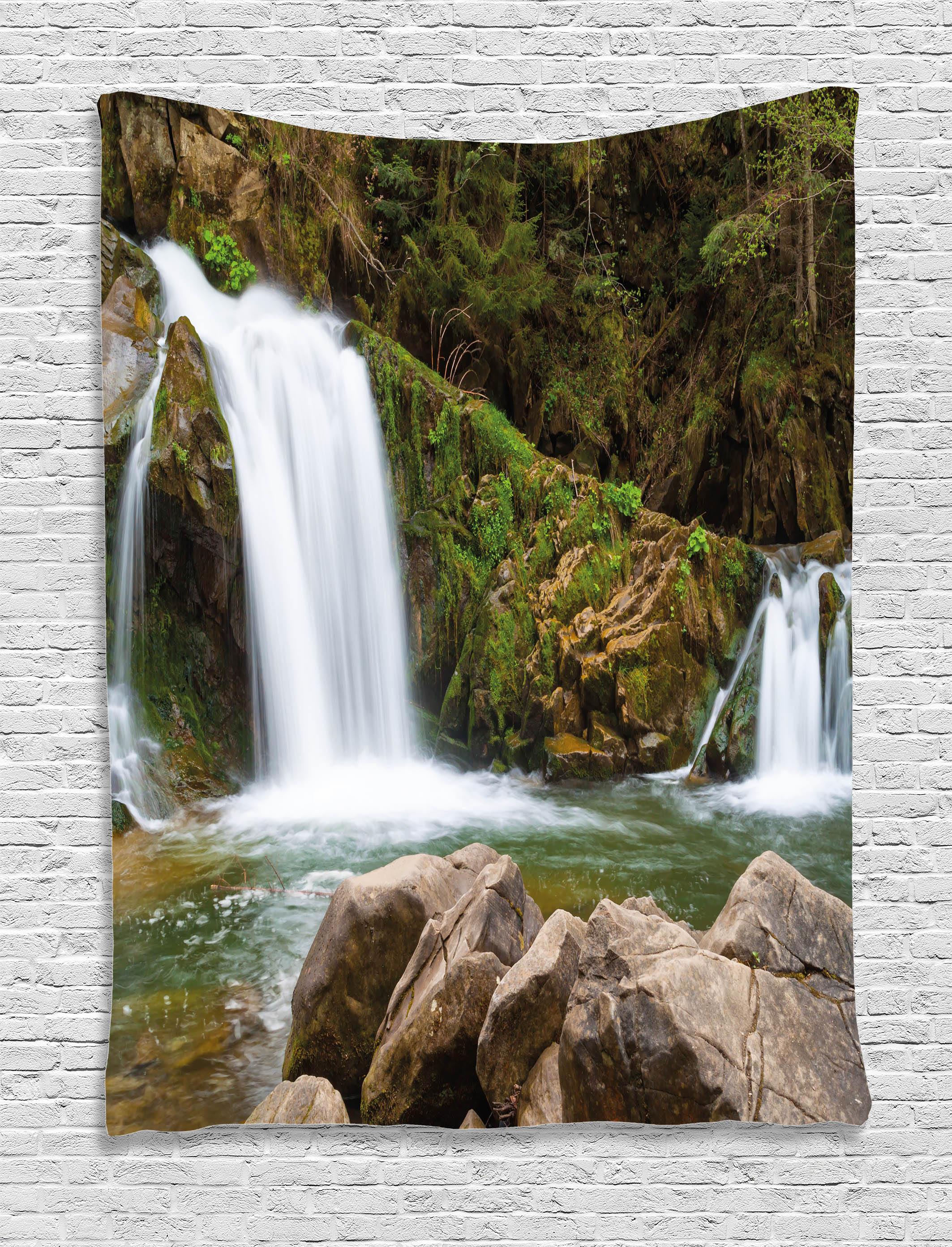 Waterfall Decor Tapestry, Mother and Baby Waterfalls by ...