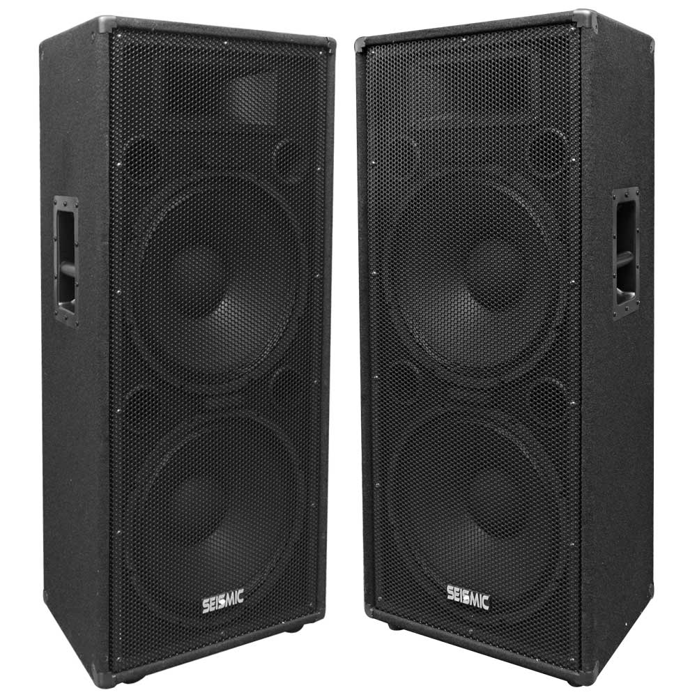 "Seismic Audio Pair of Dual 15"" PA/DJ Speaker Cabinets with Titanium Horns Wheel Kit and Handle - FL-155PC"