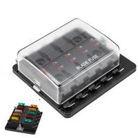 New Automotive Mini Blade Fuse Holder Box 10-Circuit Fuse Block LED Illuminated