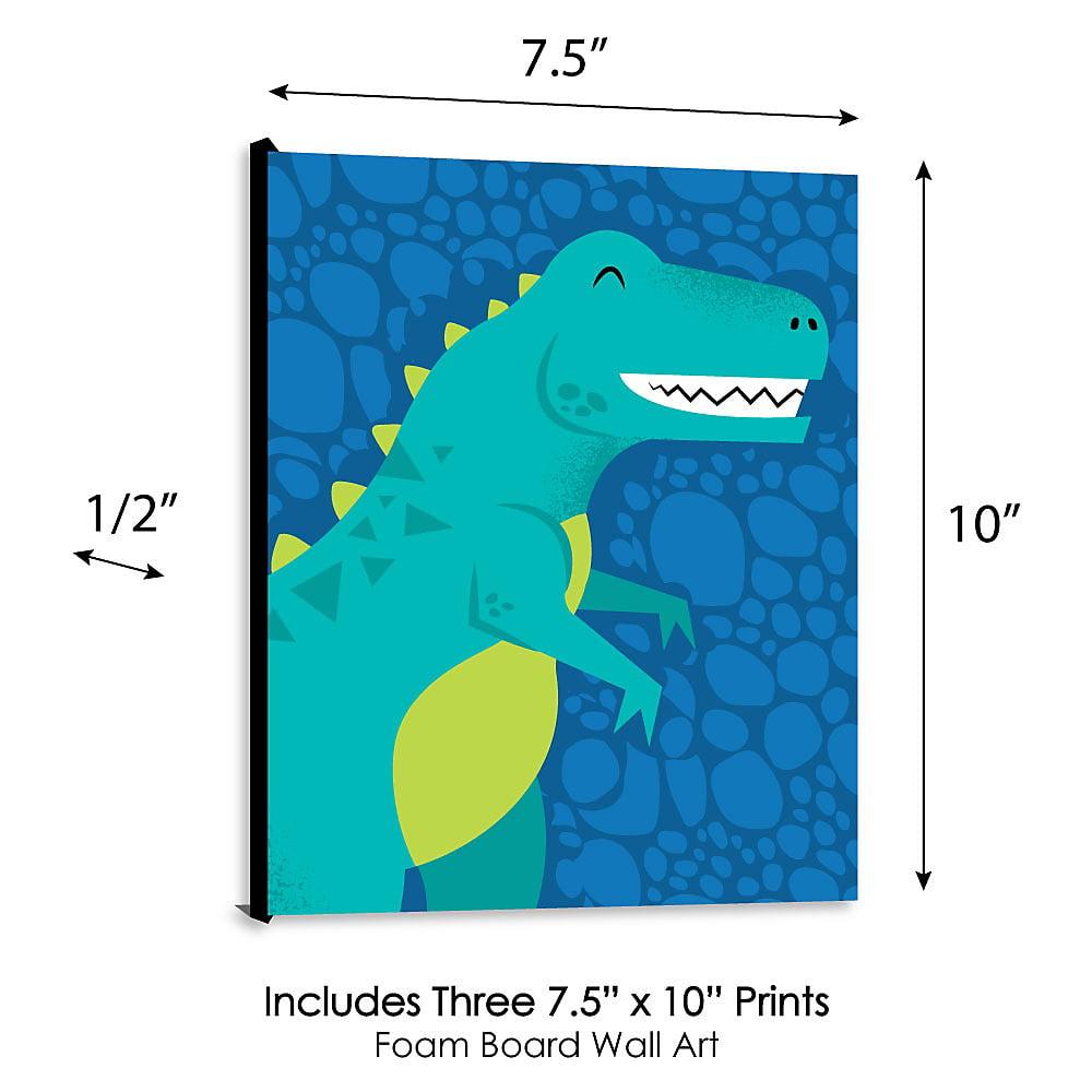 3 Modern Dinosaur Prints Trex Nursery Wall Art Decor Kids Boys Room Pictures