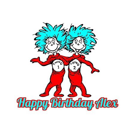 Dr Seuss Thing 1 Thing 2 Edible Image Photo Cake Topper Sheet Personalized Custom Customized Birthday Party - 1/4 Sheet - 78189 - Dr Seuss Cake Topper