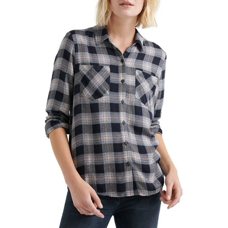 Plaid Button-Front Pocket Shirt ()