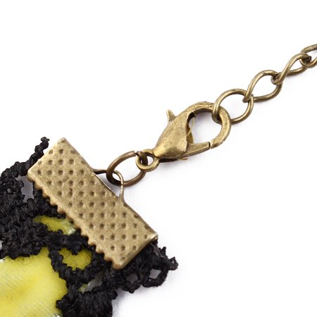 Lady Wide Lace Design Bead Pendant Adjustable Necklace Collar Choker Yellow - image 3 of 4