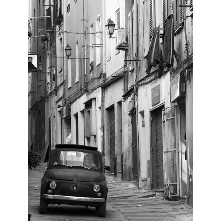 Fiat Driving in Narrow Street, Sassari, Sardinia, Italy Black and White Italian Car Photo Print Wall Art By Doug Pearson
