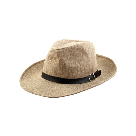 Men Summer Outdoor Linen Wide Brim Western Style Beach Sunhat Cowboy Hat -  Walmart.com 2e78cd2e182