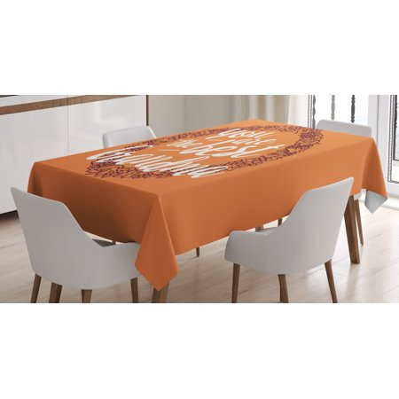 Grandma Tablecloth, Floral Wreath with an Uplifting Quote About Elderly on Warm Colored Backdrop, Rectangular Table Cover for Dining Room Kitchen, 60 X 84 Inches, Orange Ruby White, by Ambesonne Orange Floral Background