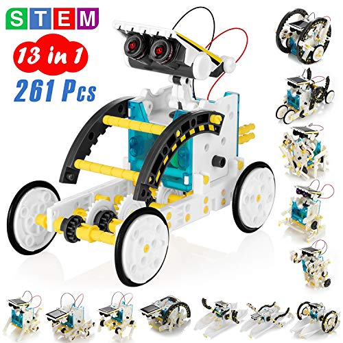 Solar Power Building Kit DIY Assembly Battery Operated Robotic Set for Kids 14-in-1 Educational STEM Science Toy - Green Teens and Science Lovers KIDWILL Solar Robot Kit for Kids Battery Include