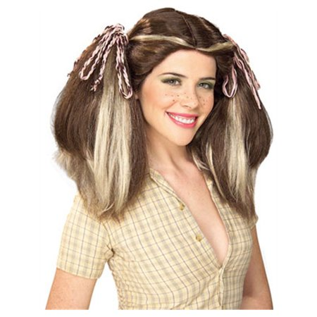 Brown Country Farm Girl Costume Wig With Blonde - Blackstock Farm Halloween