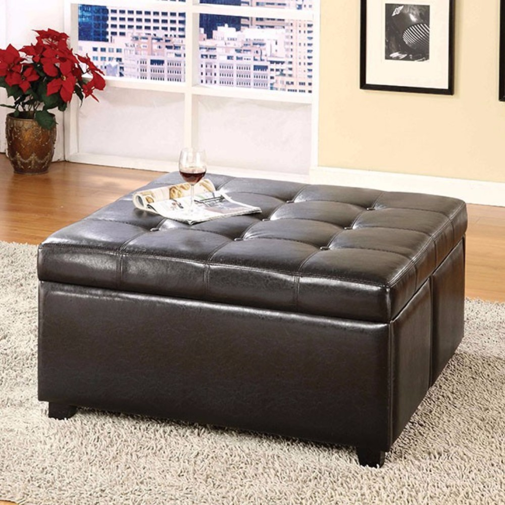 Restful Contemporary Storage Ottoman With 4 Drawers, Brown