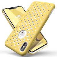 SUPCASE Unicorn Beetle Sport Series Designed for iPhone Xs Max Case 2018 Release, Liquid TPU Silicone Rubber Premium Hybrid Case [Hole Pattern] with Heat Dissipation V2.0(White/Yellow)
