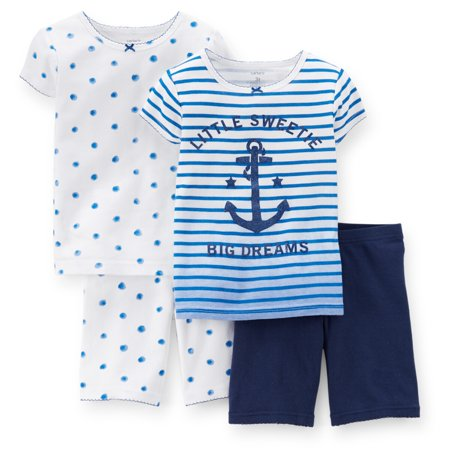 Carters Baby Clothing Outfit Girls 4-Piece Snug Fit Cotton PJs Little Sweetie Blue