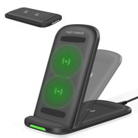 GLiving Foldable Wireless Charger Stand, Qi Wireless Charging Station 7.5W for iPhone Xs MAX/XR/XS/X/8/8 Plus, 10W Fast Charging for Galaxy Note 9/S9/S9 Plus/Note 8/S8(No AC Adapter)