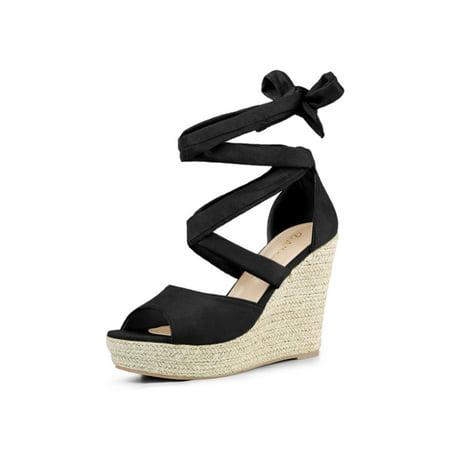 ee202c6e2c2 Women's Lace Up Espadrilles Wedge Black Sandals - 7 M US | Walmart Canada