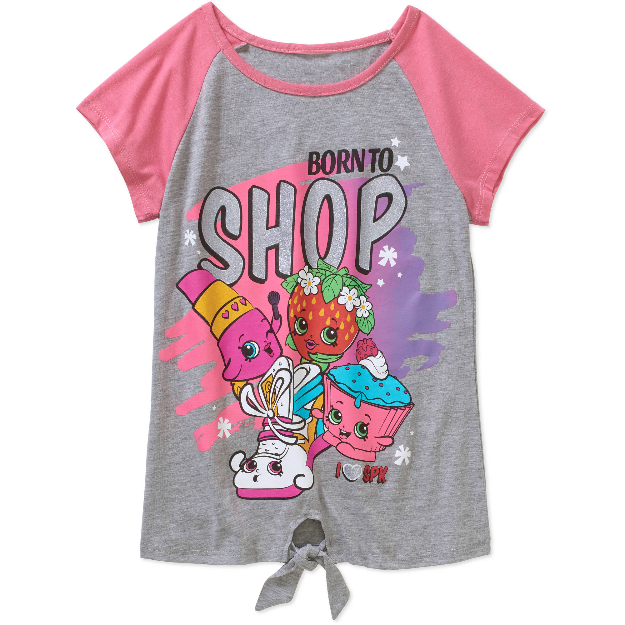 Shopkins Girls' Born to Shop Front Tie Short Sleeve Crew Neck ...