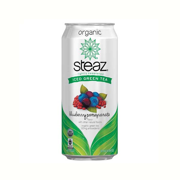 Steaz Sweetened Blueberry Pomegranate Iced Green Tea 16 oz Pack of 12