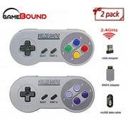 2 Pack Wireless Controller for SNES Classic, PC, RetroPie (1 Color, 1 Purple)