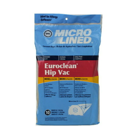 Euroclean Hip Vac Micro Allergen Vacuum Cleaner Bags by DVC Made in USA [ 5 Bags ]