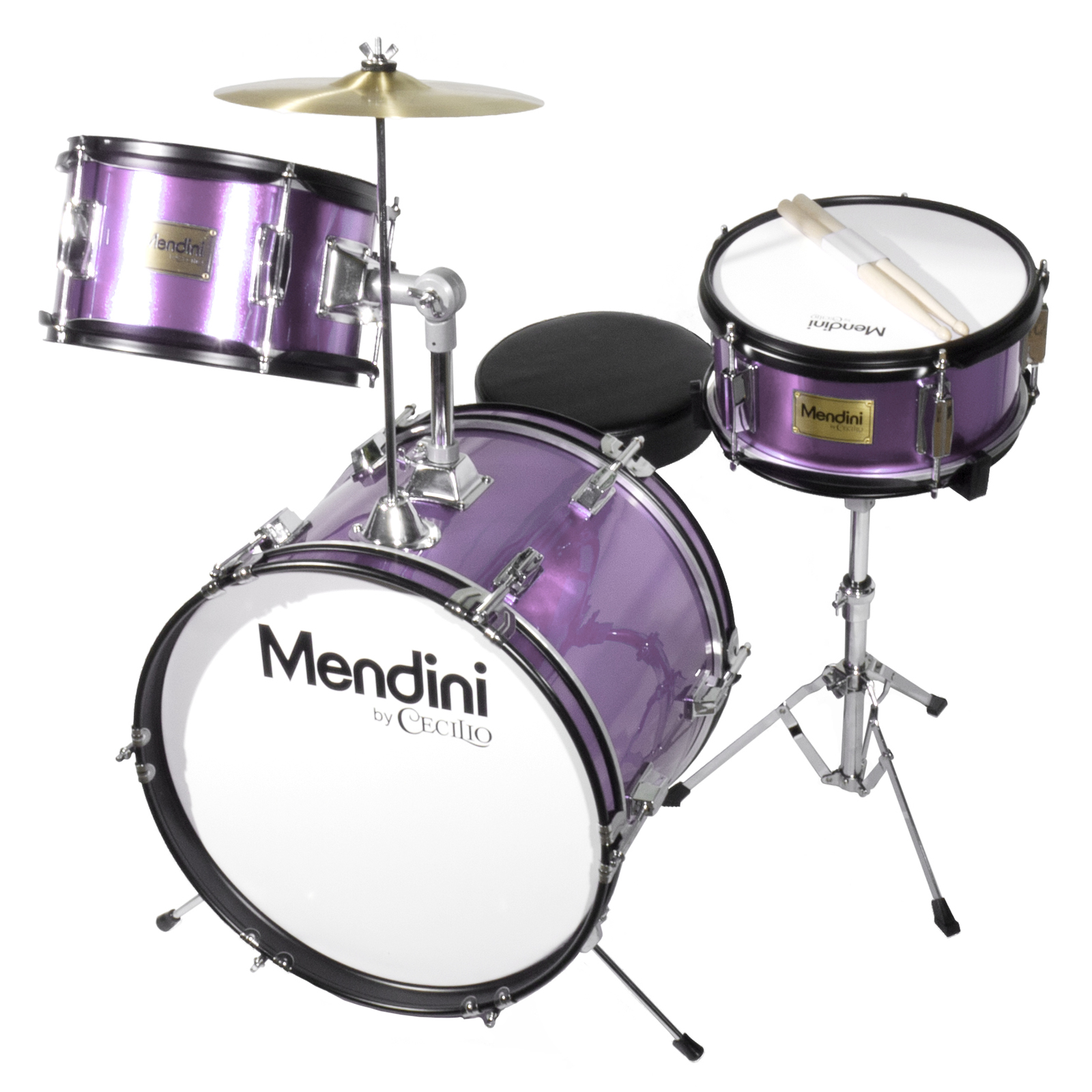 "Mendini by Cecilio 16"" 3-Piece Kids / Junior Drum Set with Adjustable Throne, Cymbal, Pedal & Drumsticks, Metallic Purple, MJDS-3-PL"