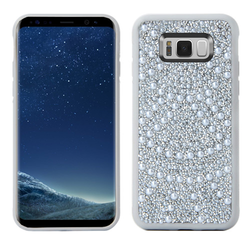 MUNDAZE Silver Luxury Pearls Diamond Case For Samsung Galaxy S8 PLUS Phone